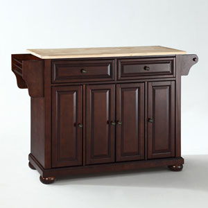Alexandria Natural Wood Top Kitchen Island in Vintage Mahogany Finish