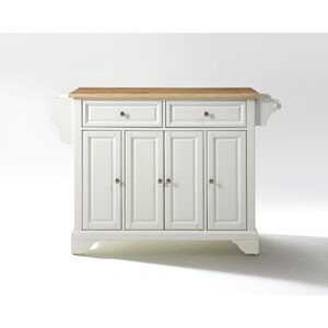 LaFayette Natural Wood Top Kitchen Island in White Finish