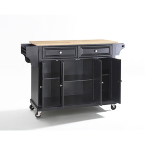 Natural Wood Top Kitchen Cart/Island in Black Finish