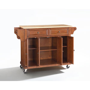 Natural Wood Top Kitchen Cart/Island in Classic Cherry Finish
