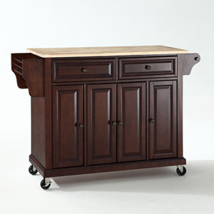 Natural Wood Top Kitchen Cart/Island in Vintage Mahogany Finish