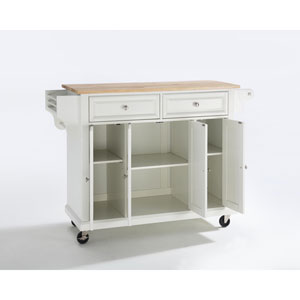 Natural Wood Top Kitchen Cart/Island in White Finish