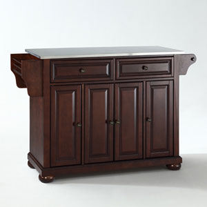 Alexandria Stainless Steel Top Kitchen Island in Vintage Mahogany Finish