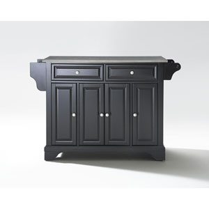 LaFayette Stainless Steel Top Kitchen Island in Black Finish