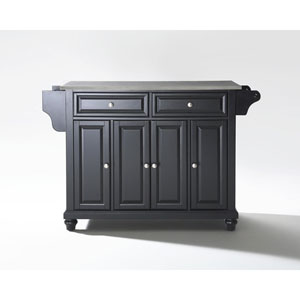 Cambridge Stainless Steel Top Kitchen Island in Black Finish