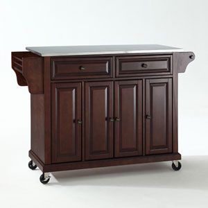 Stainless Steel Top Kitchen Cart/Island in Vintage Mahogany Finish