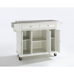 Stainless Steel Top Kitchen Cart/Island in White Finish