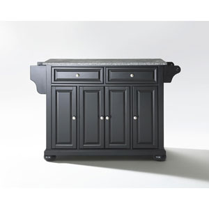 Alexandria Solid Granite Top Kitchen Island in Black Finish