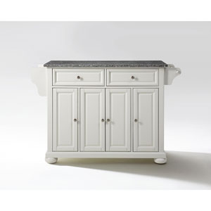 Alexandria Solid Granite Top Kitchen Island in White Finish
