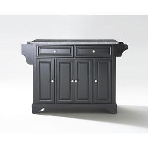 LaFayette Solid Granite Top Kitchen Island in Black Finish