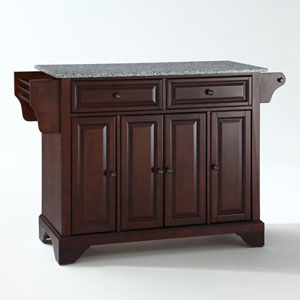 LaFayette Solid Granite Top Kitchen Island in Vintage Mahogany Finish