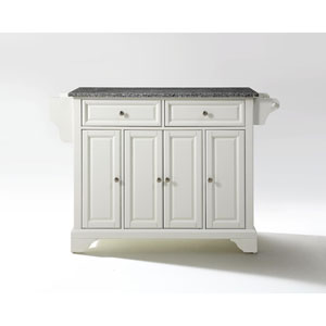 LaFayette Solid Granite Top Kitchen Island in White Finish