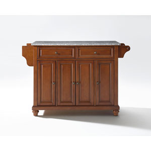 Cambridge Solid Granite Top Kitchen Island in Classic Cherry Finish