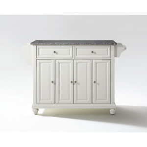 Cambridge Solid Granite Top Kitchen Island in White Finish