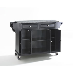 Solid Granite Top Kitchen Cart/Island in Black Finish