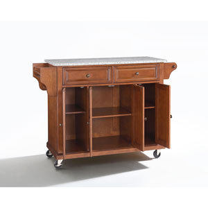 Solid Granite Top Kitchen Cart/Island in Classic Cherry Finish