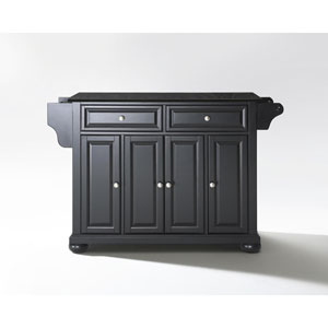 Alexandria Solid Black Granite Top Kitchen Island in Black Finish