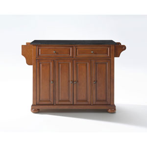 Alexandria Solid Black Granite Top Kitchen Island in Classic Cherry Finish