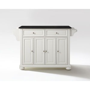 Alexandria Solid Black Granite Top Kitchen Island in White Finish
