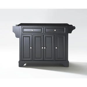 LaFayette Solid Black Granite Top Kitchen Island in Black Finish