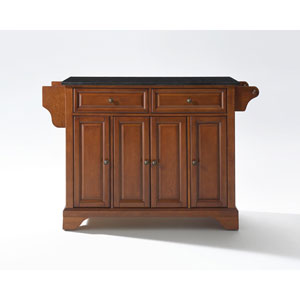 LaFayette Solid Black Granite Top Kitchen Island in Classic Cherry Finish