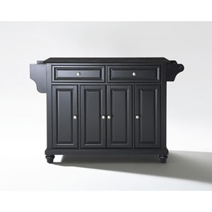 Cambridge Solid Black Granite Top Kitchen Island in Black Finish