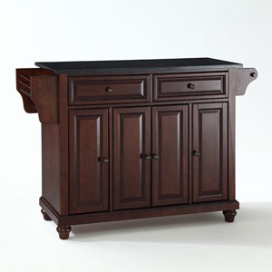 Cambridge Solid Black Granite Top Kitchen Island in Vintage Mahogany Finish