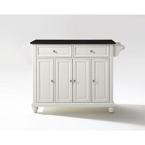 Cambridge Solid Black Granite Top Kitchen Island in White Finish