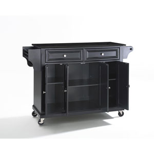 Solid Black Granite Top Kitchen Cart/Island in Black Finish