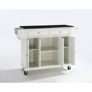 Solid Black Granite Top Kitchen Cart/Island in White Finish