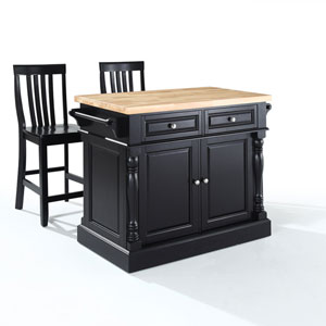 Butcher Block Top Kitchen Island in Black Finish with 24-Inch Black School House Stools