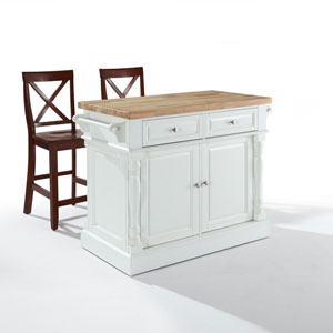 Butcher Block Top Kitchen Island in White Finish with 24-Inch Black X-Back Stools