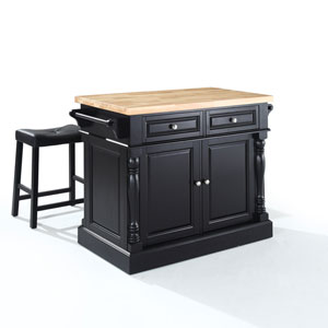 Butcher Block Top Kitchen Island in Black Finish with 24-Inch Black Upholstered Saddle Stools