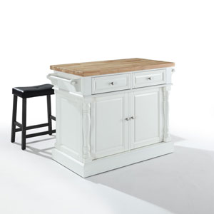 Butcher Block Top Kitchen Island in White Finish with 24-Inch Black Upholstered Saddle Stools