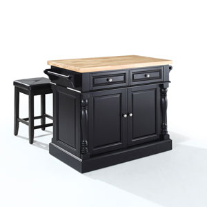 Butcher Block Top Kitchen Island in Black Finish with 24-Inch Black Upholstered Square Seat Stools