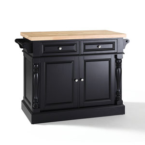 Butcher Block Top Kitchen Island in Black Finish