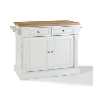 Butcher Block Top Kitchen Island in White Finish