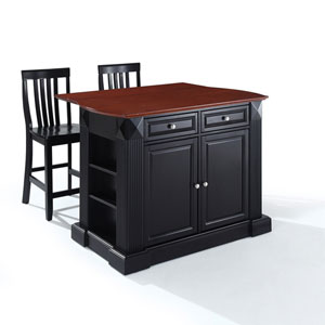 Drop Leaf Breakfast Bar Top Kitchen Island in Black Finish with 24-Inch Black School House Stools