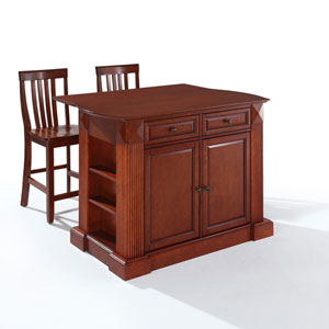 Drop Leaf Breakfast Bar Top Kitchen Island in Cherry Finish with 24-Inch Cherry School House Stools