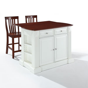 Drop Leaf Breakfast Bar Top Kitchen Island in White Finish with 24-Inch Cherry School House Stools