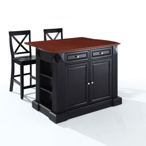 Drop Leaf Breakfast Bar Top Kitchen Island in Black Finish with 24-Inch Black X-Back Stools