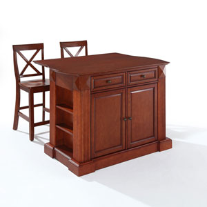 Drop Leaf Breakfast Bar Top Kitchen Island in Cherry Finish with 24-Inch Cherry X-Back Stools