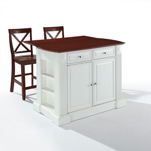 Drop Leaf Breakfast Bar Top Kitchen Island in White Finish with 24-Inch Cherry X-Back Stools