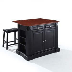 Drop Leaf Breakfast Bar Top Kitchen Island in Black Finish with 24-Inch Black Upholstered Saddle Stools