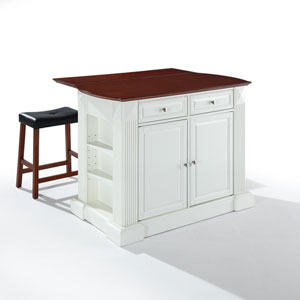 Drop Leaf Breakfast Bar Top Kitchen Island in White Finish with 24-Inch Cherry Upholstered Saddle Stools