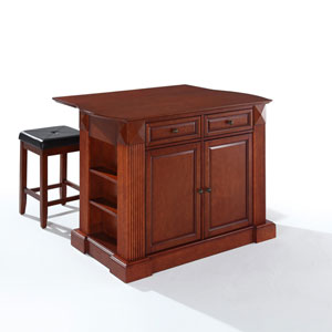 Drop Leaf Breakfast Bar Top Kitchen Island in Cherry Finish with 24-Inch Cherry Upholstered Square Seat Stools