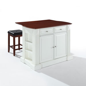 Drop Leaf Breakfast Bar Top Kitchen Island in White Finish with 24-Inch Cherry Upholstered Square Seat Stools