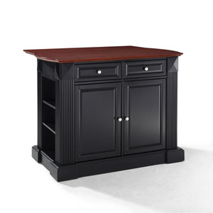 Drop Leaf Breakfast Bar Top Kitchen Island in Black Finish