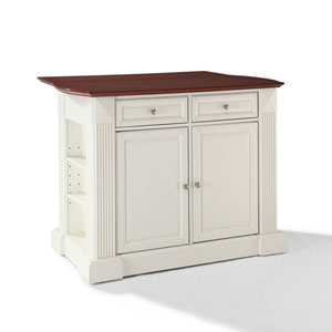 Drop Leaf Breakfast Bar Top Kitchen Island in White Finish