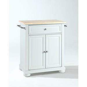 Alexandria Natural Wood Top Portable Kitchen Island in White Finish